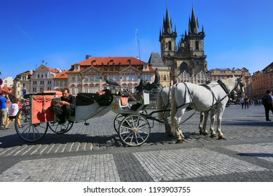 Prague, Czech Republic, September 18, 2018. Horses and coachmen waiting for a walk in the Old Town of Prague