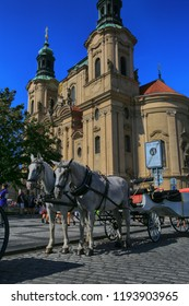 Prague, Czech Republic, September 18, 2018. Horses waiting for a ride in Old Town Prague