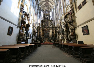Prague, Czech Republic, September 18, 2018. Interior inside the Church of Our Lady of the Snow in Prague