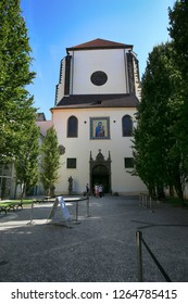 Prague, Czech Republic, September 18, 2018. Tourists at the Church of Our Lady of the Snow in Prague