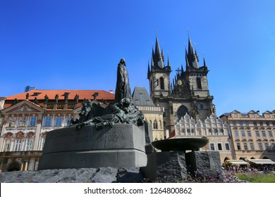 Prague, Czech Republic, September 18, 2018. Church of Our Lady before Tyn and the Jan Hus Memorial in Old Town Square of Prague