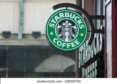 PRAGUE, CZECH REPUBLIC - SEPTEMBER 18, 2014: Starbucks Coffee. Starbucks is the largest coffeehouse company in the world, with 20,891 stores in 62 countries.