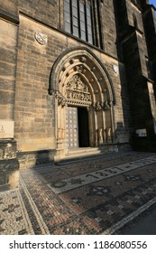Prague, Czech Republic, September 19, 2018. Entrance to the Basilica of St. Peter and Pavel in Visegrad