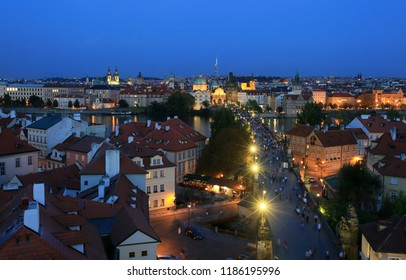 Prague, Czech Republic, September 19, 2018. A beautiful view of the night city from above