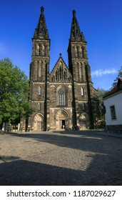 Prague, Czech Republic, September 19, 2018. The Basilica of Saints Peter and Paul in Vysehrad