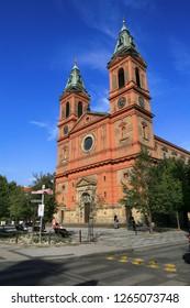 Prague, Czech Republic, September 19, 2018. Church of St. Wenceslas in Smichov