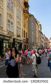 "PRAGUE, CZECH REPUBLIC - SEPTEMBER 19, 2018: Prague city center also called ""Praha 1"" is the oldest district of the city, the original 'Town of Prague."
