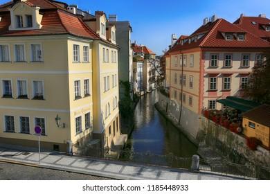 Prague, Czech Republic, September 20, 2018. City landscape view of the Mala Strana in Kampa