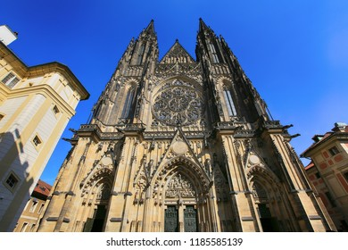 Prague, Czech Republic, September 20, 2018. Gothic Catholic Cathedral of St. Vitus in Prague Castle