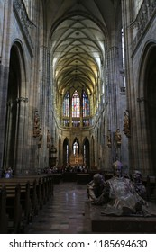 Prague, Czech Republic, September 20, 2018. View inside the Gothic Catholic Cathedral of St. Vitus in Prague Castle
