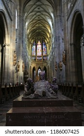 Prague, Czech Republic, September 20, 2018. A statue inside the Gothic Catholic Cathedral of St. Vitus in Prague Castle