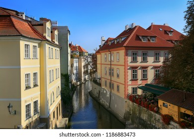 Prague, Czech Republic, September 20, 2018. City landscape view of the Mala Strana in Kampa