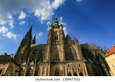 Prague, Czech Republic, September 20, 2018. St. Vitus Cathedral on the territory of Prague Castle.