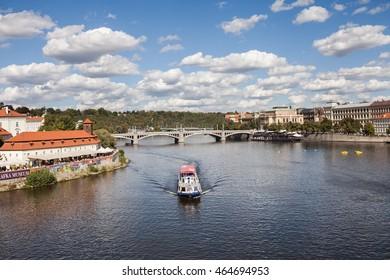 PRAGUE, CZECH REPUBLIC - September 20, 2015: View of river Vltava