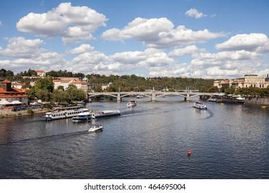 PRAGUE, CZECH REPUBLIC - September 20, 2015: Tourist boats on river Vltava