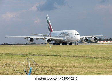 PRAGUE, CZECH REPUBLIC - SEPTEMBER 20, 2017: EMIRATES AIRLINES Airbus A380-800 rolls on the runway before departure from Prague. Emirates is an airline of the United Arab Emirates, based in Dubai.