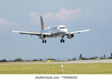 PRAGUE, CZECH REPUBLIC - SEPTEMBER, 20 2017: Airbus A320 Germanwings, Lufthansa Group, landing in Prague Airport.