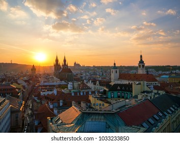 PRAGUE, CZECH REPUBLIC - SEPTEMBER 2016: Aerial view of Prague Old Town with amazing sunset sky in background