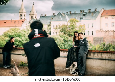 Prague, Czech Republic - September 22, 2017: Wedding Photosession Of Chinese Newlyweds. It Is Popular Among Rich Chinese Newlyweds.