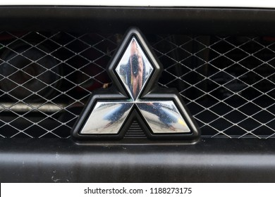 PRAGUE, CZECH REPUBLIC - SEPTEMBER 22 2018: Mitsubishi company logo on car on September 22, 2018 in Prague, Czech Republic.