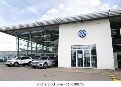 PRAGUE, CZECH REPUBLIC - SEPTEMBER 22 2018: Volkswagen company logo on dealership building on September 22, 2018 in Prague, Czech Republic.