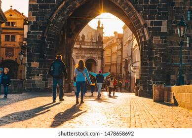 PRAGUE, CZECH REPUBLIC - September 22, 2018: Charles bridge on sunrise