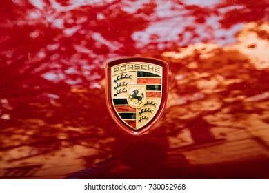 Prague, Czech Republic - September 22, 2017: Close Logo Logotype Sign Of Porsche On Red Background.