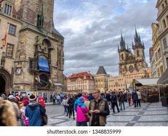 Prague, Czech Republic - September 23, 2018: Church of our Lady before Tyn, old town astronomical clock, Prague, Czech Republic. Tourists enjoying the city