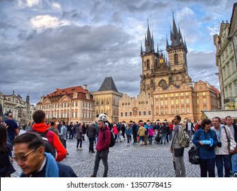 Prague, Czech Republic - September 23, 2018: Church of our Lady before Tyn, Old Town Square, Prague, Czech Republic. Tourists enjoying the city