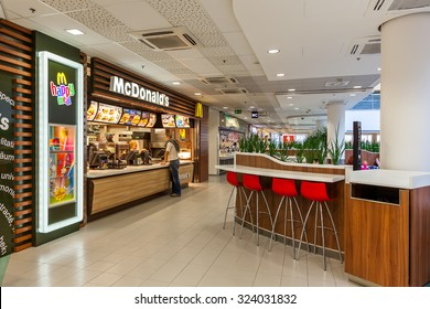 PRAGUE, CZECH REPUBLIC - SEPTEMBER 23, 2015: McDonald's restaurant in Flora mall. McDonald's, founded in 1940, is world's largest chain of fast food serving millions of customers in 119 countries.
