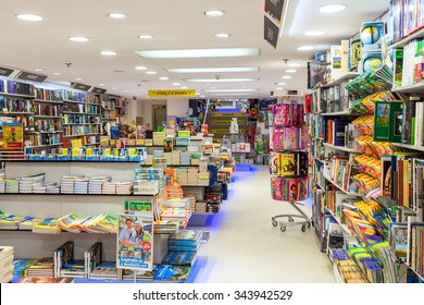 PRAGUE, CZECH REPUBLIC - SEPTEMBER 23, 2015: Interior view of Dobrovsky bookstore in Prague. This is one of the largest networks specializing in books sales with 24 stores throughout the country.