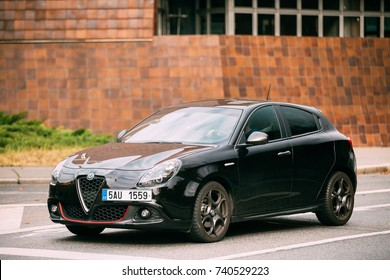 Prague, Czech Republic - September 23, 2017: Side View Of Alfa Romeo Giulietta Veloce 940 Car Of Black Metallic Color In Street.