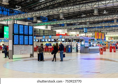 PRAGUE, CZECH REPUBLIC - SEPTEMBER 23, 2015: Departurea area of Vaclav Havel Airport formerly known as Ruzyne - international airport of Prague, Czech Republic, located 12 km west of the city.