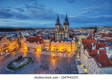 Prague, Czech Republic - September 24, 2018:  Old town square and church of Mother of God before Tyn in Prague, Czech Republic. Architecture and landmark of Prague.