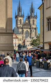 Prague, Czech Republic - September 26, 2018: Prague market on Old Town square In Prague, Czech Republic, Europe. View on Tyn church and traditional market.