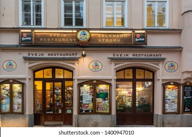 PRAGUE, CZECH REPUBLIC - SEPTEMBER 26, 2014: Facade front view of a traditional restaurant with signs of the national character Brave Soldier Svejk in Prague Czech Republic September 26, 2014.