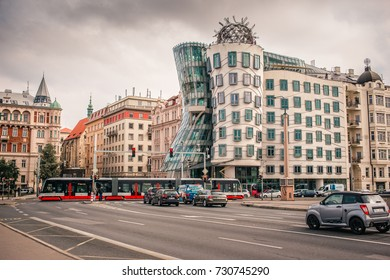PRAGUE, CZECH REPUBLIC - SEPTEMBER 26, 2017: Dancing house or Fred and Ginger building in downtown Prague, Czech Republic. Built by Vlado Milunic and Frank Gehry in 1992-1996.
