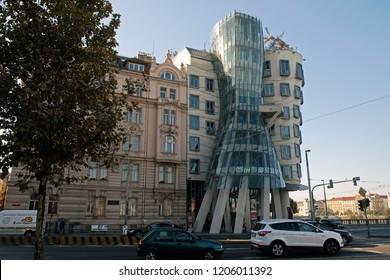 PRAGUE, CZECH REPUBLIC - SEPTEMBER 29, 2018: Dancing house in the style of deconstruction on the Vltava Embankment in Prague