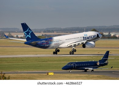 PRAGUE, CZECH REPUBLIC - SEPTEMBER 29: Air Transat Airbus A330-200 lands at PRG Airport on September 29, 2015. Air Transat is a Canadian leisure airline based in Montreal, Quebec.