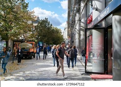 PRAGUE, CZECH REPUBLIC – SEPTEMBER 30, 2019: People in a popular shopping street in the centre of Prague