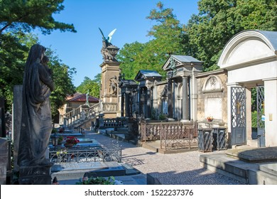 PRAGUE, CZECH REPUBLIC - SEPTEMBER 4: Historic cemetry in Prague, Czech Republic on September 4, 2019. The cemetry is located in the district of Vysehrad