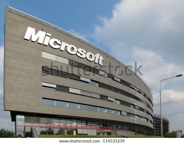 PRAGUE, CZECH REPUBLIC - SEPTEMBER 5: Microsoft Corporation headquarter, September 5, 2012 in Prague, Czech republic. Microsoft announces new Windows phone in cooperation with Nokia.