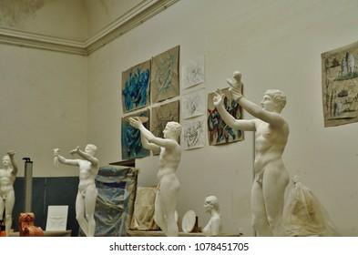 PRAGUE, CZECH REPUBLIC – SEPTEMBER 9, 2015:Sculpture in an atelier