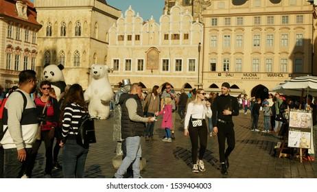 PRAGUE, CZECH REPUBLIC, SEPTEMBER 9, 2019: Old Town Square or Staromestske namesti historic square in Prague Czech Republic UNESCO, People tourists house of artists Dali, Mucha