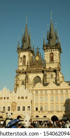 PRAGUE, CZECH REPUBLIC, SEPTEMBER 9, 2019: Old Town Square or Staromestske namesti historic square in Prague Czech Republic UNESCO and gothic Church of Our Lady before Tyn, People tourists
