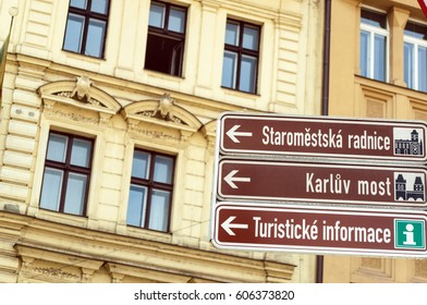 Prague - Czech Republic : Signs pointing to famous landmarks including Charles Bridge