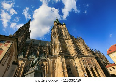 Prague, Czech Republic, St. Vitus Cathedral on the territory of Prague Castle.