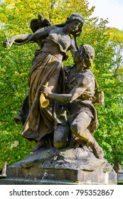 Prague, Czech Republic: Statue of Ctirad and Sarka (characters from early Czech mythology) by Josef Myslbek (1897) situated in the park at Vysehrad.