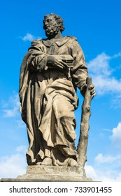 Prague, Czech Republic: Statue of Jude the Apostle on the north side of Charles Bridge over the river Vltava.