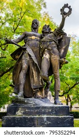 Prague, Czech Republic: Statue of Zaboj and Slavoj (characters from early Czech mythology) by Josef Myslbek (1897) situated in the park at Vysehrad.